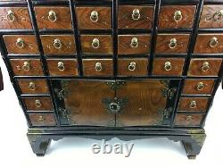VTG Antique Chinese China Counter Top Medicine Apothecary Cabinet Chest Table