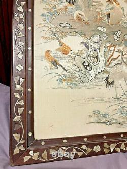 Very Beautiful Antique Chinese Embroidered Silk Framed Embroidery Qing Dynasty