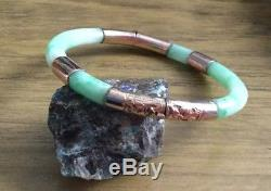 Very Rare Antique Victorian Chinese Real Apple Jade & Rose Gold Bangle