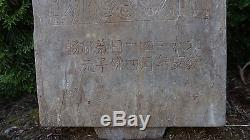 Very Rare Chinese Qing Dynasty Tomb Stone Dragon Buddha Calligraphy Plaque