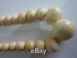 Victorian Antique Chinese Cantonese Carved Bovine Bone Round Bead Necklace