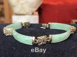 Vintage 14k Gold Genuine Green Jade Jadeite Bracelet Chinese Signed Cn Gemstone