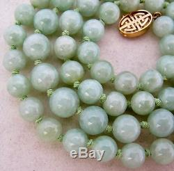 Vintage 26 Chinese Green JADEITE Jade 8.7mm Bead Necklace with 14K Gold Clasp
