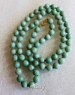 Vintage Antique Chinese Carved Jade Jadeite Beads 14kt Gold Necklace 24