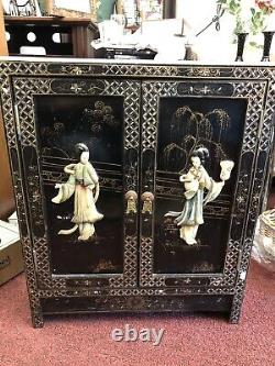 Vintage Black Lacquer Chinese Scholars Cabinet Hand Painted With Asian Designs
