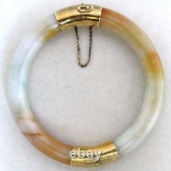 Vintage Chinese 14K Gold, Orange & White JADEITE Jade Bangle Bracelet (59.8g)