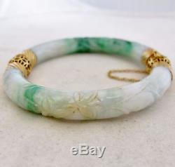 Vintage Chinese 14K Yellow Gold Green & White JADEITE Jade Bangle Bracelet (69g)