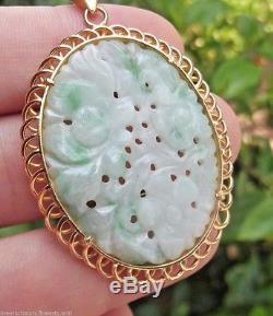 Vintage Chinese 27ct Jadeite Jade & 22k Solid Gold Pendant 12.45gr No 14k 18k