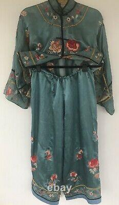 Vintage Chinese Antique Embroidered Silk Deco Qing Dynasty Robe Lounge Set
