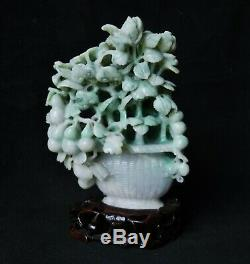 Vintage Chinese Apple Green & White Jade Carving Prunus Bush Jadeite Nephrite