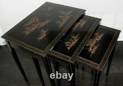 Vintage Chinese Asian Chinoiserie Hollywood Regency Ebonized Nesting Tables
