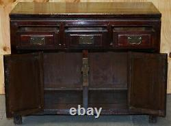Vintage Chinese Cabinet Cupboard Sideboard Lacquered Carved And Detailed Piece