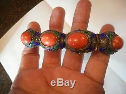 Vintage Chinese Export SILVER Gilt Enamel Filigree Coral Bracelet
