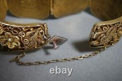 Vintage Chinese Export Silver Vermeil Filigree Hand Carved Cinnabar Bracelet