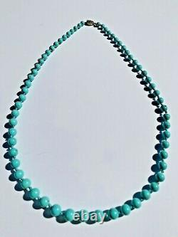 Vintage Chinese Export Turquoise Beads Necklace w Filigree Sterling Silver Clasp