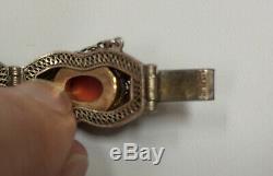 Vintage Chinese Gilt Sterling Silver Cloissone Enamel Coral Cabochon Bracelet