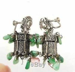Vintage Chinese Silver Filigree Lantern Form Earrings Jewelry Jadeite Jade