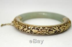 Vintage Chinese Silver and Natural Untreated Floral Jade Bangle/Bracelet
