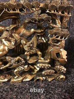 Vintage Detailed Warriors Chinese Asian Gold Art Antique Carving Wood Panel