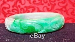 Vintage Genuine Natural Chinese Carved Jade Jadeite Gemstone Bangle Bracelet