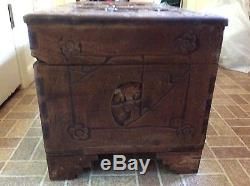 Vintage Hand Carved Chinese Art Wood Wooden Trunk/Chest/Box Unknown Antique