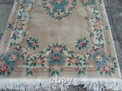 Vintage Hand Made Art Deco Chinese Oriental Beige Wool Rug Carpet 247x150cm