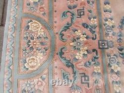 Vintage Hand Made Art Deco Chinese Oriental Pink Green Wool Rug Carpet 366x272cm