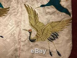 Vintage Japanese Embroidered Silk Kimono Chinese Robe Embroidery Cranes