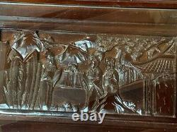 Vintage Pair Chinese Carved Wood Figural Scene Glass Top Nesting Tables- REDUCED