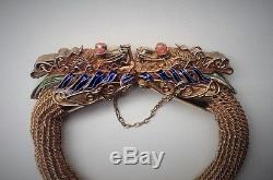 Vntg Chinese Export Vermeil Gilded Silver Dragon Bracelet Enamel Mane Coral Eye