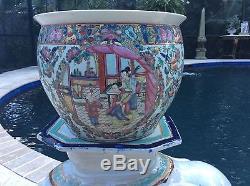 Vtg 20th Century Chinese Porcelain Famille Rose Fish Bowl Planter