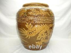Vtg Chinese Dragon Bowl Jardiniere Planter Large Oriental Pottery Pot