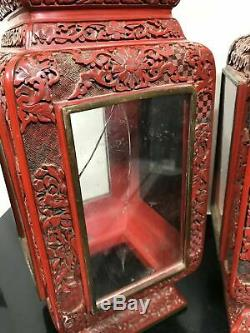 Vtg Pair Chinese Carved Cinnabar Ornate Wedding Lanterns Shadowbox Cases withGlass
