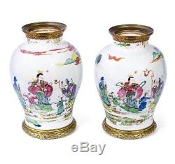 Yongzheng Chinese Porcelain Gilt-Bronze Mounted Famille Rose Baluster Jars 18thC