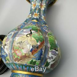 10h Miroir Paire De Poire Chinois Antique Cloisonné Vases En Forme
