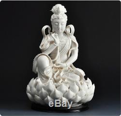 12 Chinois Dehua Porcelaine Blanche Lianhua Kwan-yin Guanyin Statue De Bouddha
