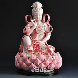 12 Statue De Bouddha Lotus De Lianhua Kwan-yin Guanyin En Porcelaine De Chine Colorée Dehua