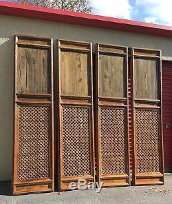1800 Qing Chinois Antique Asiatique En Bois Sculpté Treillis 4 Portes D'écran Architectural