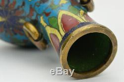 18 19 Chinois Qing Ming Cloisonné Petit Scholars Vase Poignées Anneau