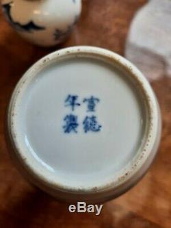 18 19thc Signé Chinois Porcelaine Gourd Vases Vin Flacons