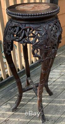 18c Antique Chinois Sculpté Marbre Bois Usine Bambou Support De Table Découpages