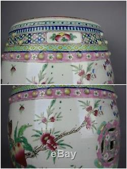 18ème / 19ème Siècle Paire De Chinois Famille-rose Peaches Sièges De Jardin