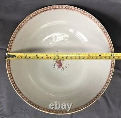18ème Siècle Chinois Export Porcelaine Punch Bowl Période Qianlong