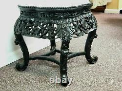 1900's Carved Wood Clover Form Pink Marble Top Chinese Side Table Plant Stand