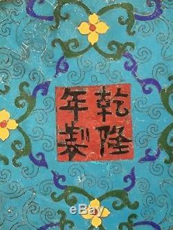 + 1910-40 Dynastie Des Qing Chef-d'œuvre Blue Dragon Chinois Table Cloisonné Chaises +