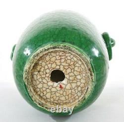 1930's Chinese Green Crackle Glaze Monochrome Ge Guan Type Vase Éléphant Oreilles