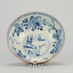 19.3cm 18c Kangxi Bleu Blanc Batave Bowl Chinois Antique Porcelaine Qing