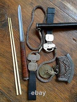 19 Cent Chinois / Argent Mongolie Et Cuir Couteau Officiel Avec Baguettes Set