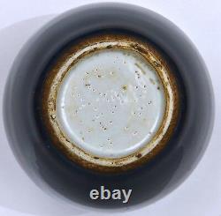 19c Chinese Cobalt Blue Glaze Monochrome Porcelaine Thé Caddy Vase Couverture En Bois Couvercle