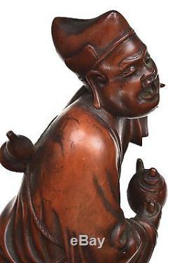 19c Chinois Buis En Bois Sculpté Sculpté Sculpture Bouddha Moine Louhan Figure Figurine